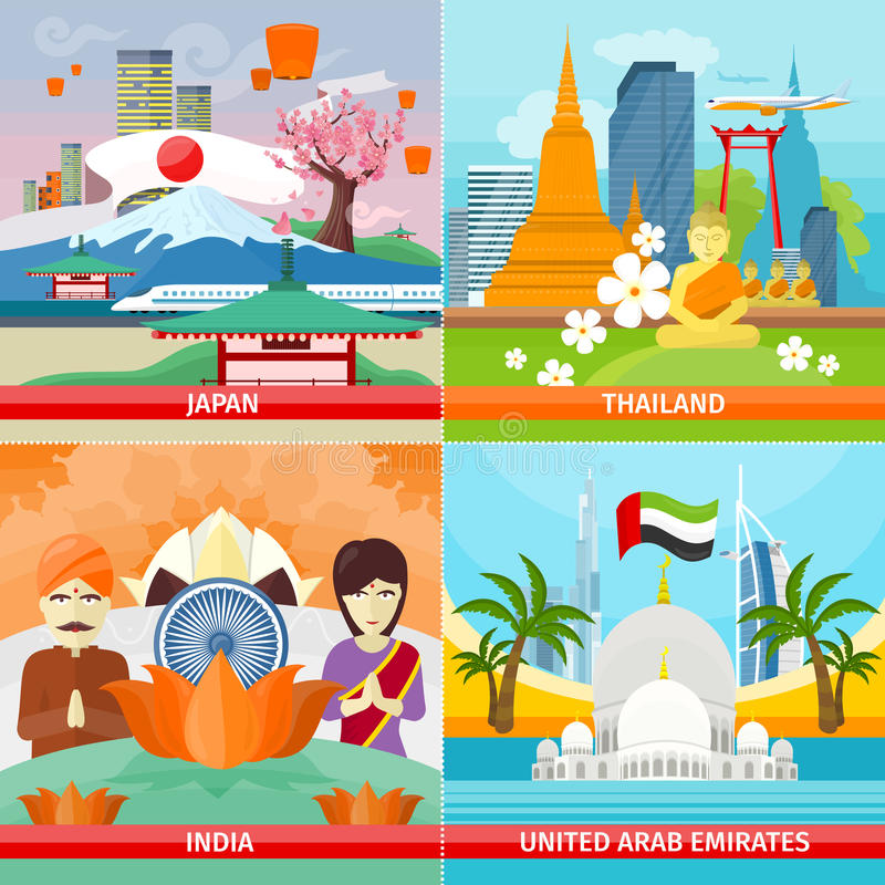 Set of Traveling Concepts in Flat Design. Set of traveling concepts. Flat design. Collection of Japan, Thailand, India, United Arab Emirates posters. Countries vector illustration