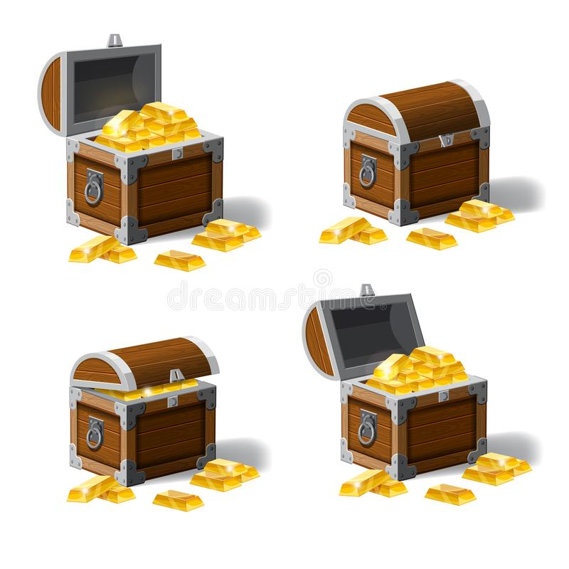 Set of treasure chests, open and closed pirate treasure chests, locked, empty, full of coins cartoon vector illustration stock illustration