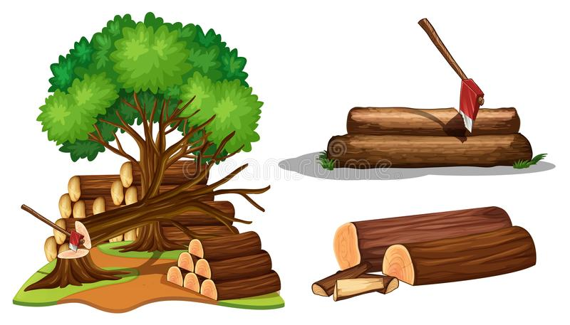 A Set of Tree Being Cut royalty free illustration