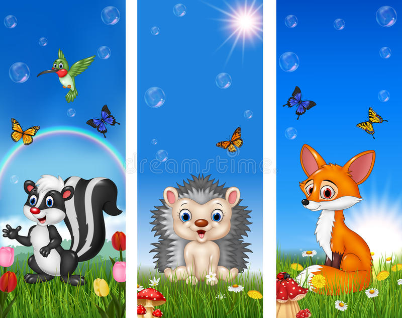 Set of tree funny animal with nature background royalty free illustration
