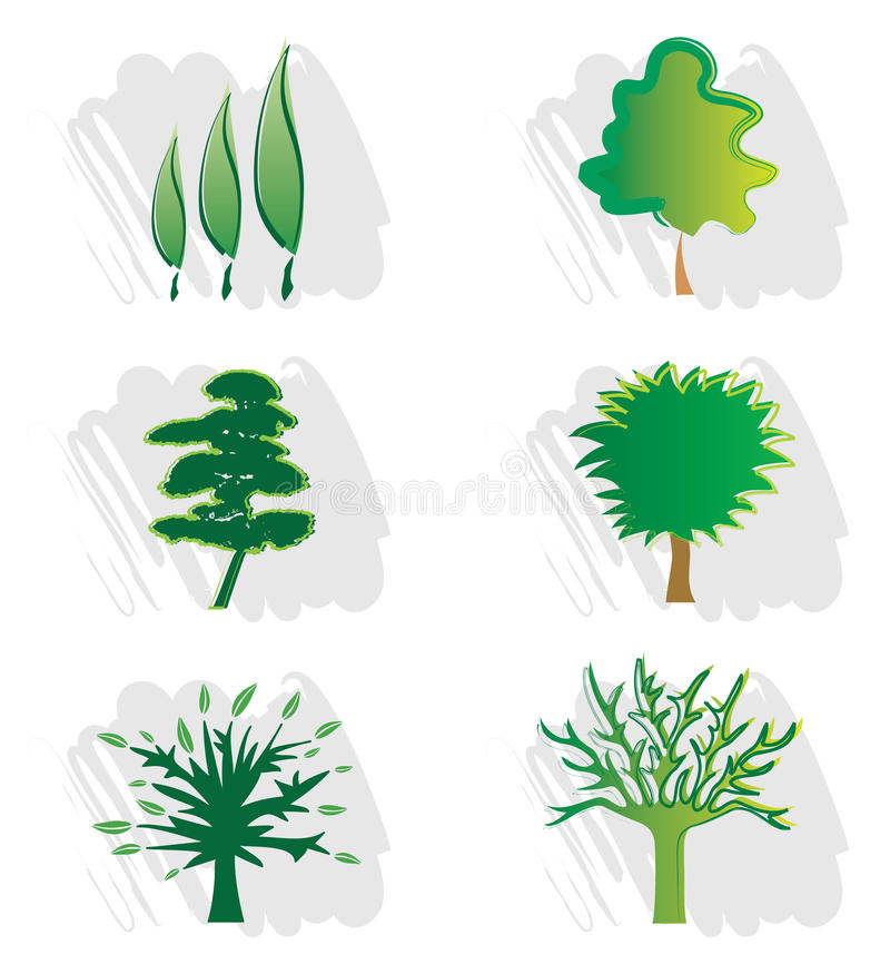 Download Set Of Tree Icons For Logo Design Stock Vector - Illustration: 21623724