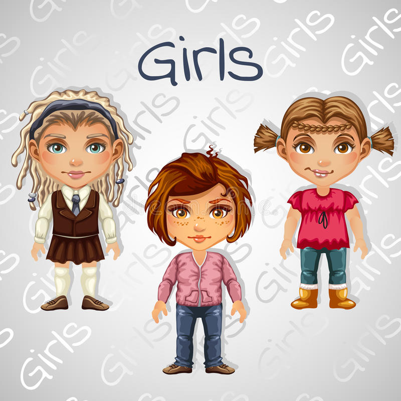 Set of tree images of teenager girls for animation stock illustration