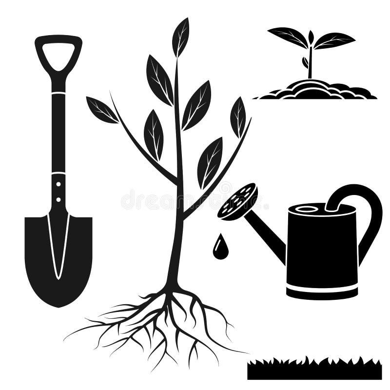Set for tree planting stock illustration