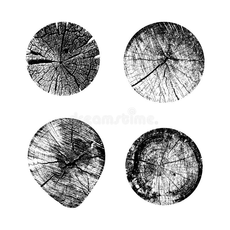 Set of tree rings background. For your design conceptual graphics. Vector illustration. Isolated on white background.  stock illustration