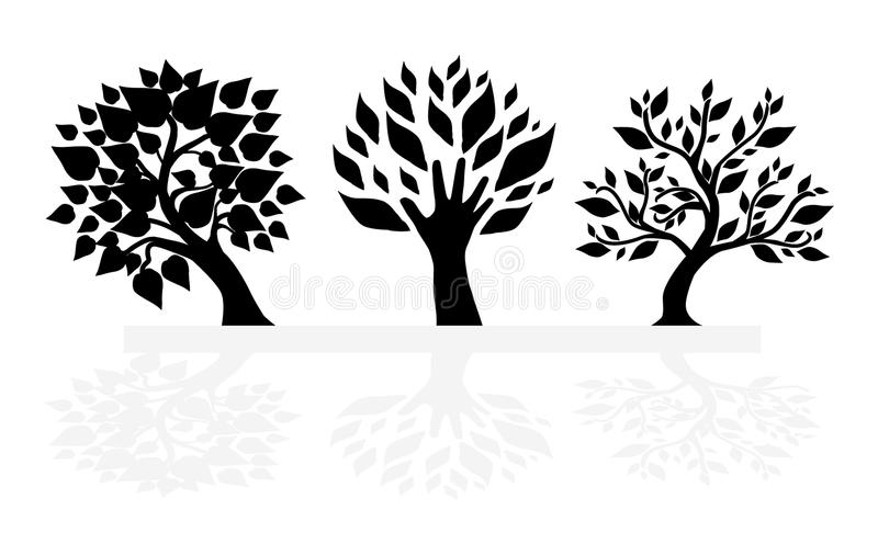Set Of Tree Silhouettes Stock Images
