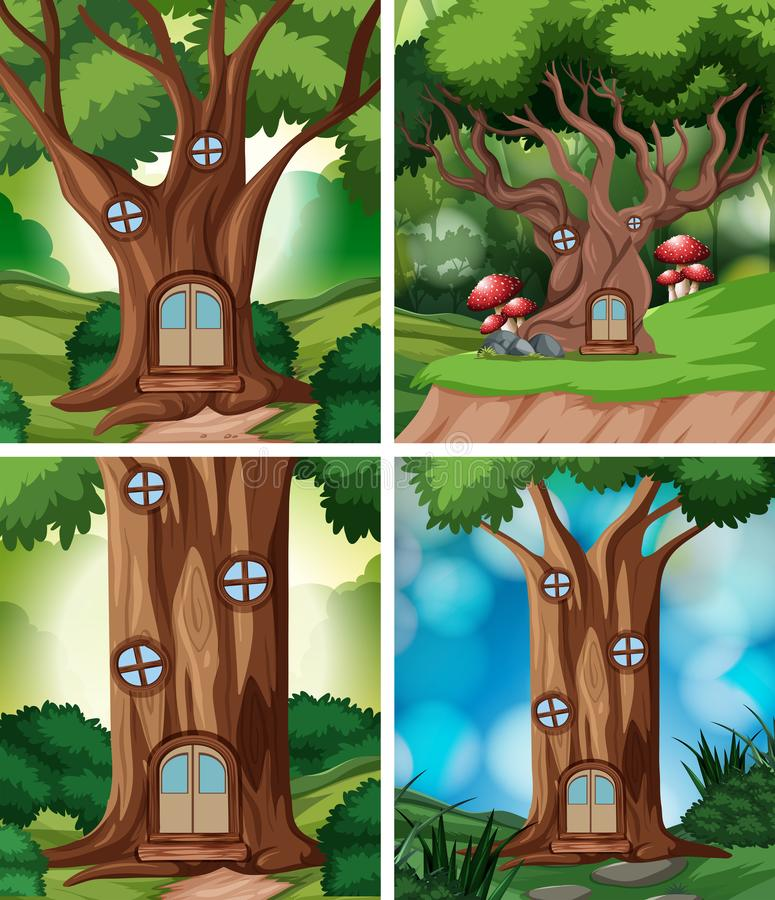 Set of treehouse in nature vector illustration