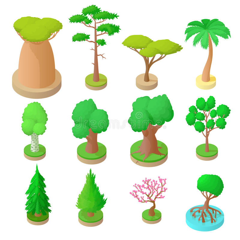 Set of 12 trees in 3d isometric style. royalty free stock images