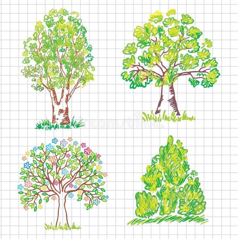 set trees för härlig klottergreen stock illustrationer