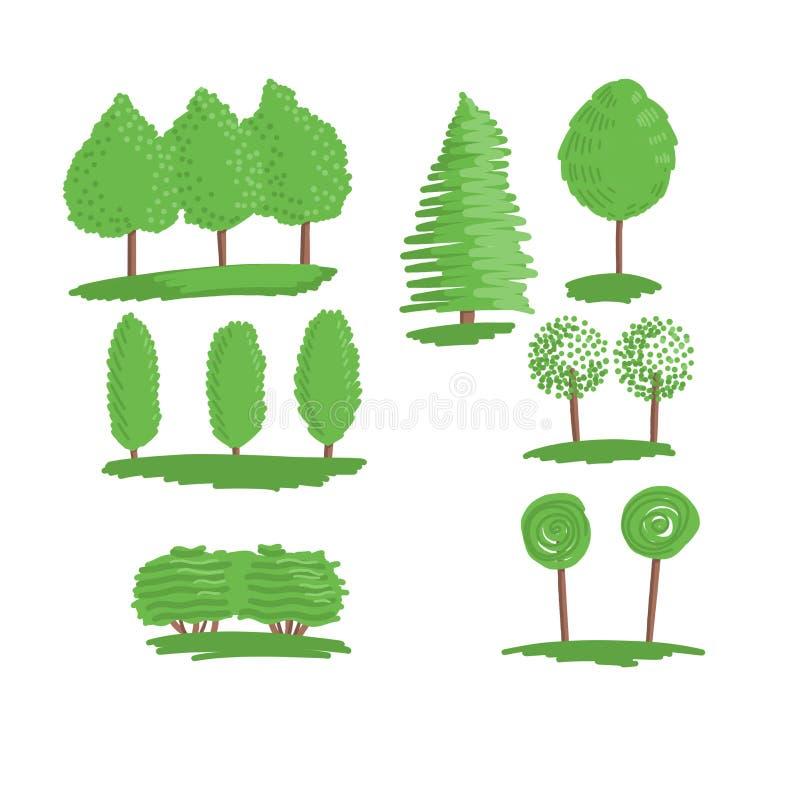 Set of trees. illustration isolated on white background stock illustration