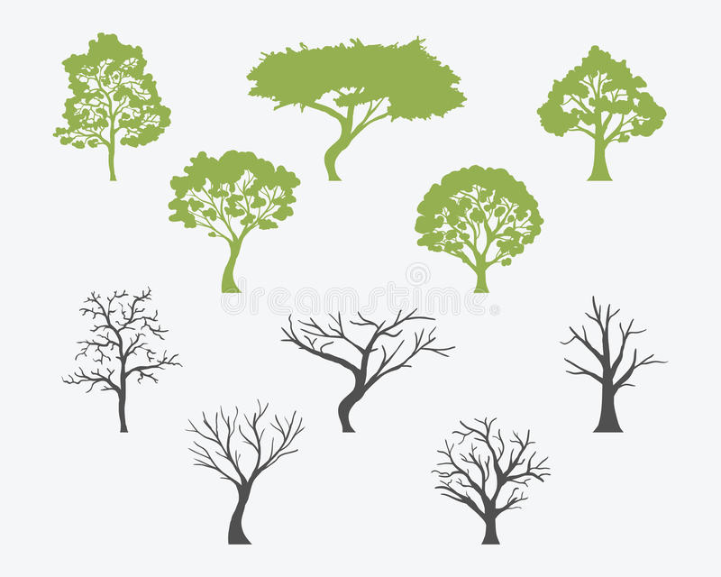 Set Of Trees Silhouettes With Leaves And Bare. Vector stock illustration
