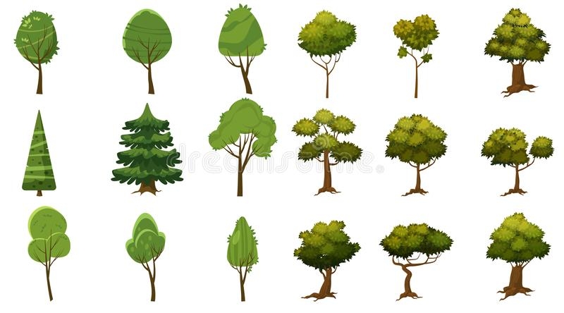 Set of trees of various kinds, cartoon style and stylized, for erg and applications, vector, illustration, isolated royalty free illustration