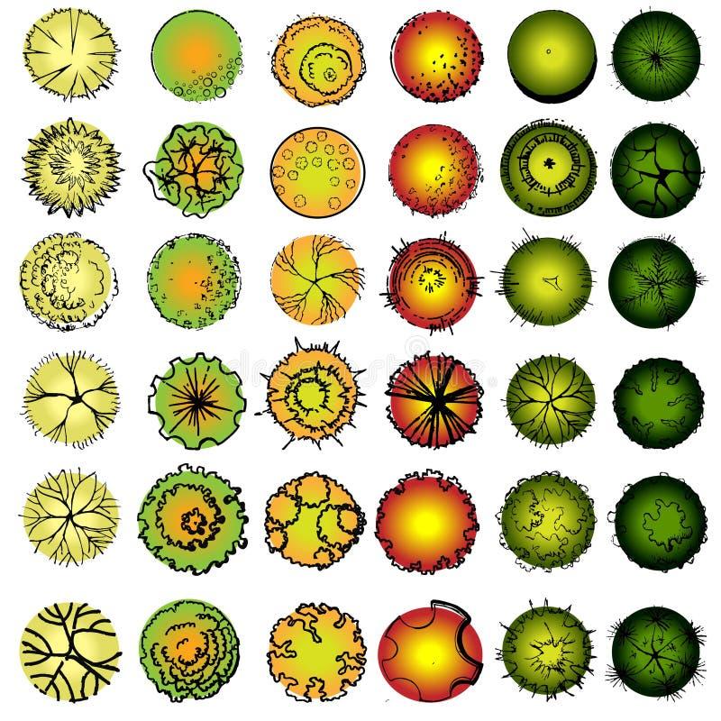 A Set Of Treetop Symbols Stock Illustration. Illustration Of Plant - 56576439