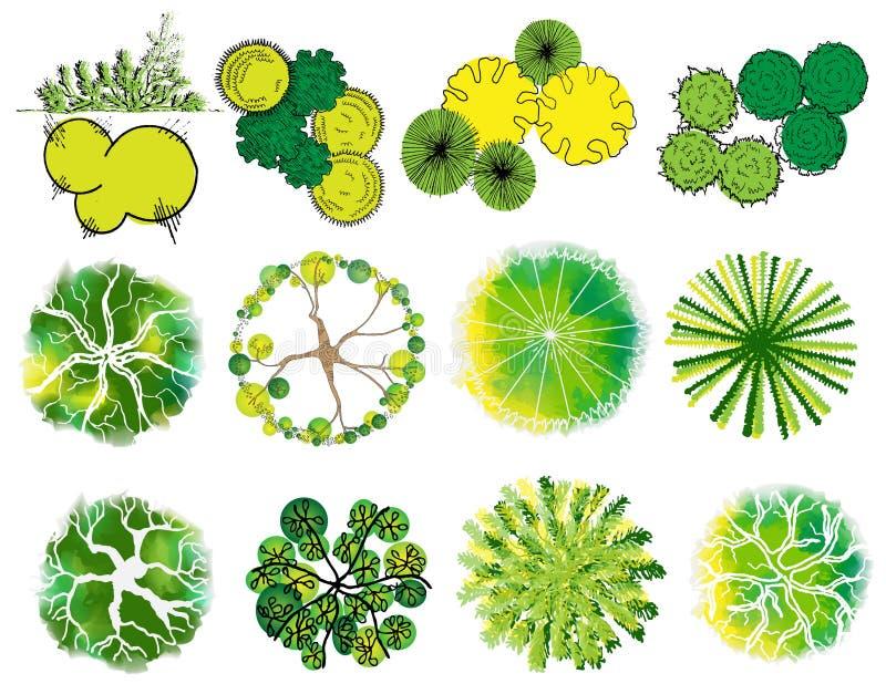 A set of treetop symbols stock illustration