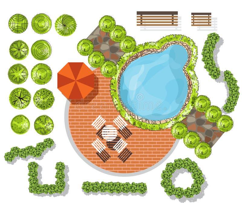 Set of treetop symbols, for architectural or landscape design stock illustration