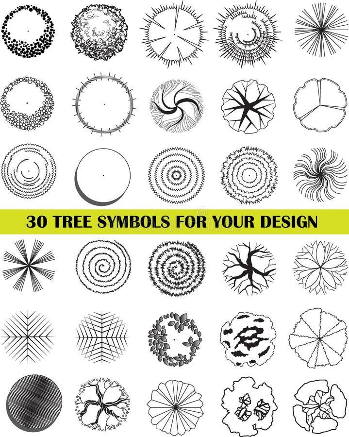A Set Of Tree Top Symbols Stock Vector Illustration Of Flora 89905790
