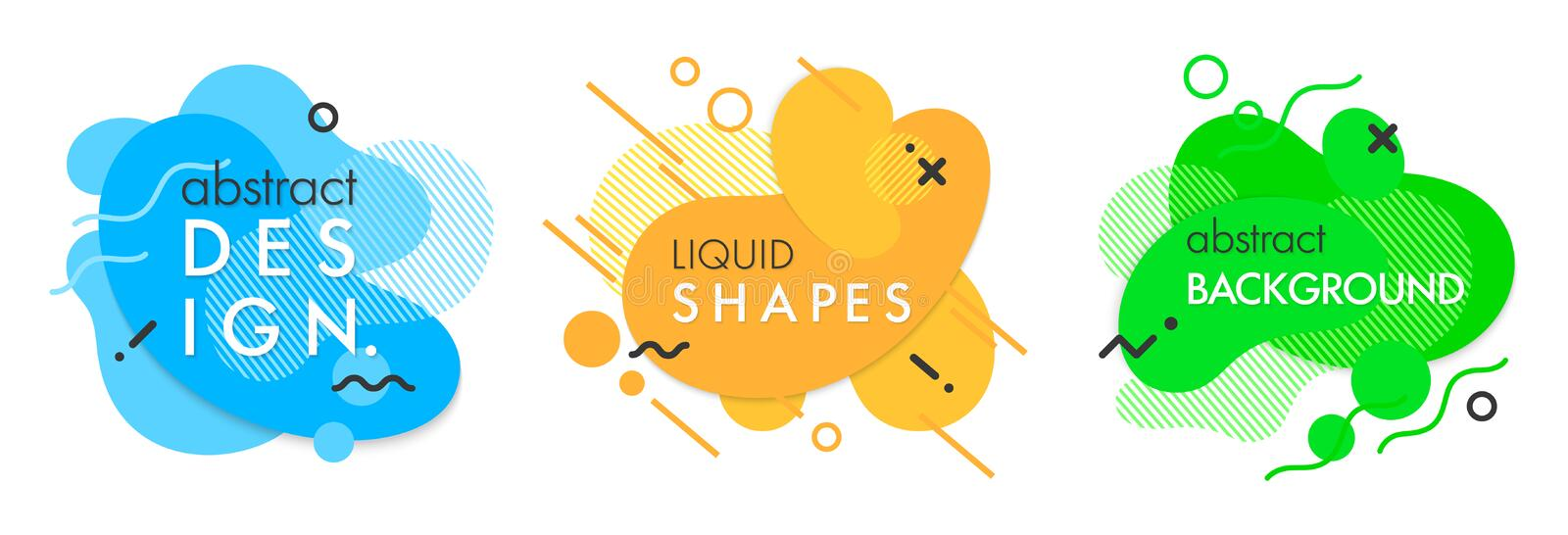 Set of trendy abstract compositions. With flowing liquid shapes and geometric elements.Dynamic fluid shapes.Abstract templates perfect for prints; flyers stock illustration