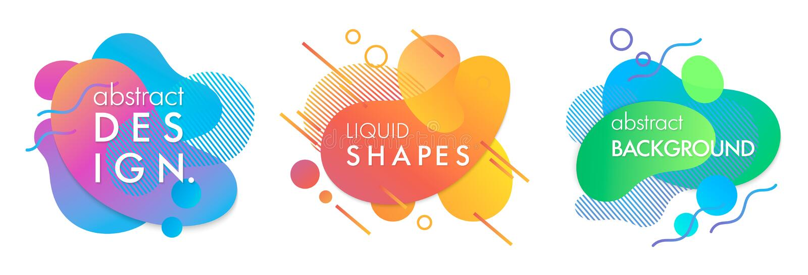 Set of trendy abstract compositions. With flowing liquid shapes and geometric elements.Dynamic fluid shapes.Abstract templates perfect for prints; flyers royalty free illustration