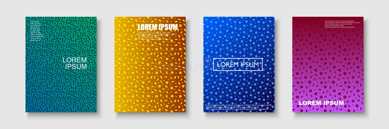 Set of trendy colorful covers - retro mempis style 80-90s. Modern backgrounds brochures, posters, banners, templates stock illustration