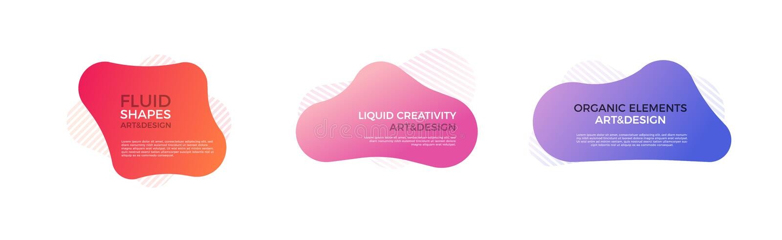 Set of trendy colorful and glowy fluid shapes. Vector geometric template liquid form elements in different colors. Modern abstract stock illustration
