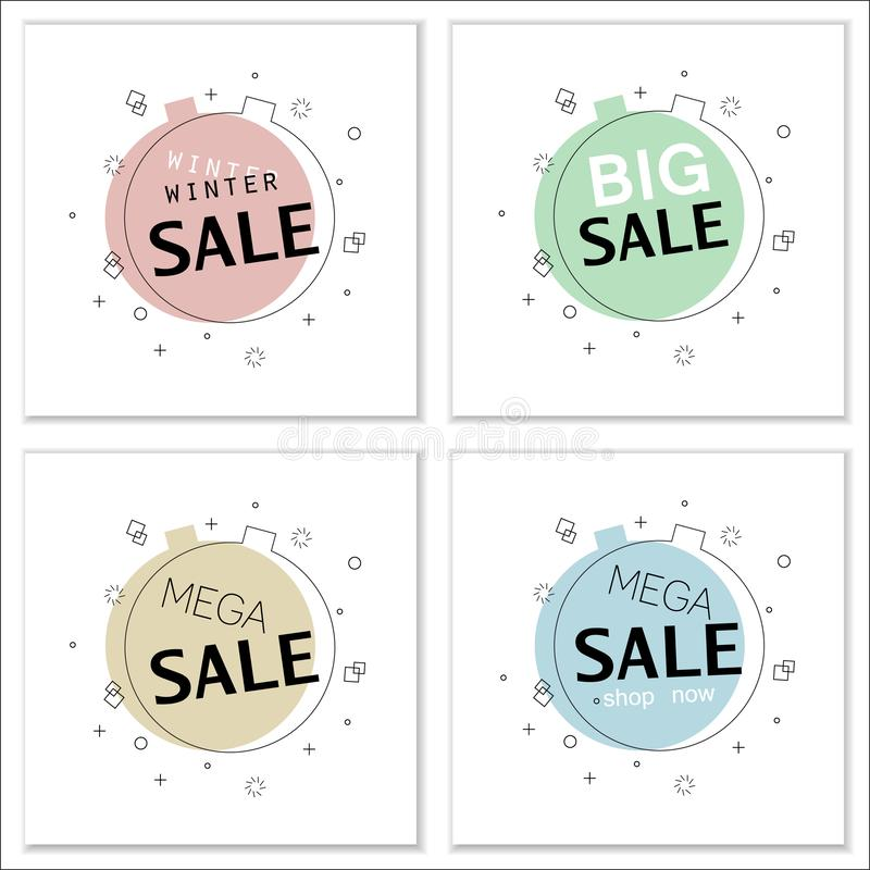 Set of trendy flat geometric vector banners for big sales. vector illustration