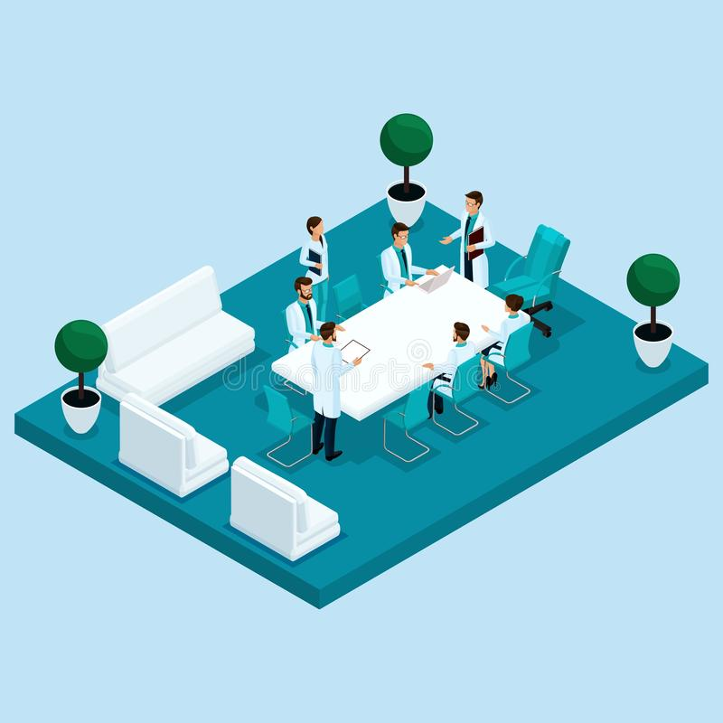 Isometry Doctor`s Office, Hospital vector illustration