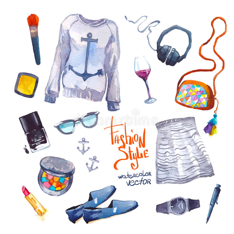 Set of trendy look. Watercolor clothes. Set of trendy look. Watercolor illustration clothes royalty free illustration