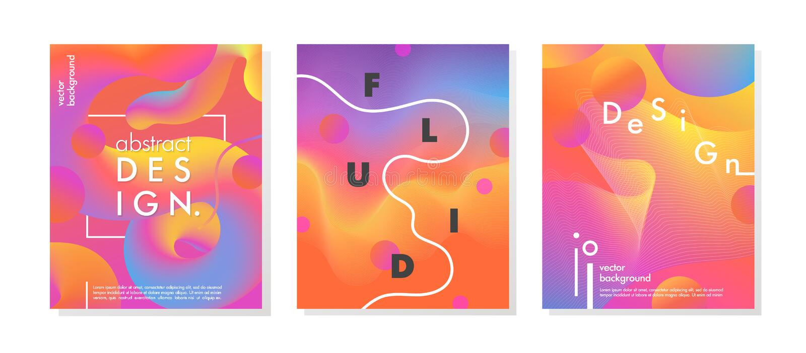 Set of trendy neon posters royalty free illustration