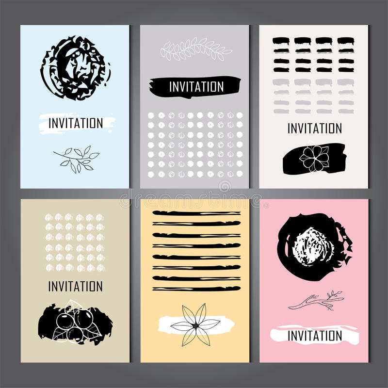 Set of Trendy Posters with hand drawn Background. Modern Hipster Style for Invitation, Business Contemporary Design. Hand Drawn Elements for Placards, Flyer royalty free illustration