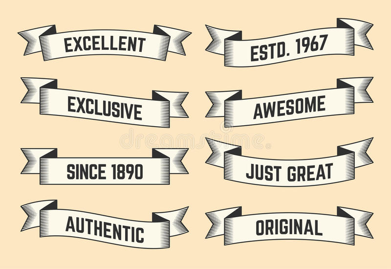Set of trendy vector vintage ribbons, banners royalty free illustration