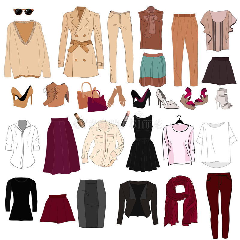 Set of trendy women`s clothes. Outfit of woman jacket,. Skirt, shirt and accessories. Women`s wardrobe. Vector illustration vector illustration