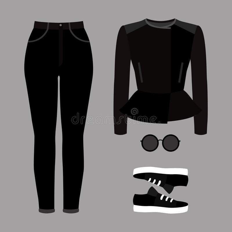 Set of trendy women's clothes. Outfit of woman jeans, rocker jac. Ket and accessories. Women's wardrobe. Vector illustration vector illustration