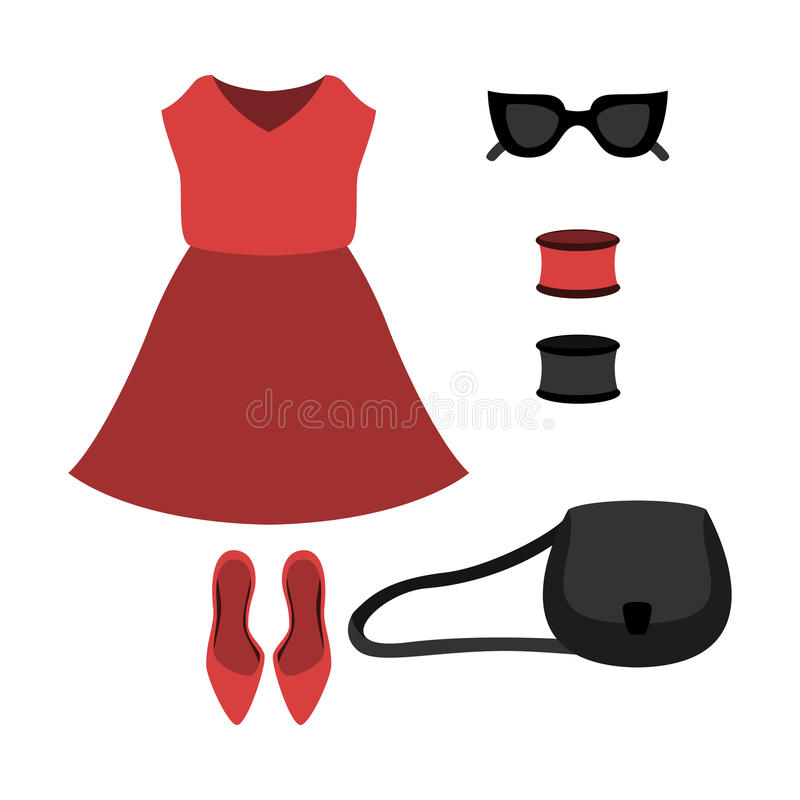 Set of trendy women's clothes with red dress and accessories vector illustration