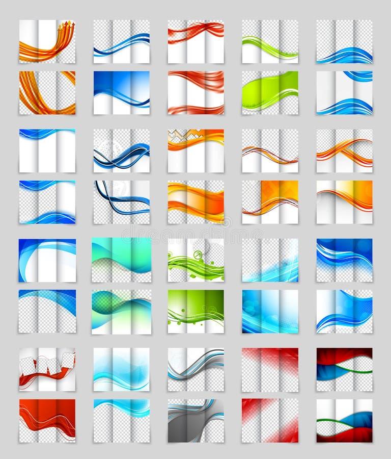 Set of tri-fold brochure design vector illustration