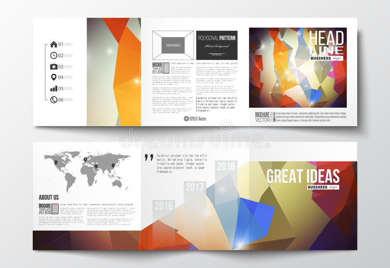 Set of tri-fold brochures, square design templates. Abstract colorful polygonal background, modern stylish triangle. Vector set of tri-fold brochures, square stock illustration