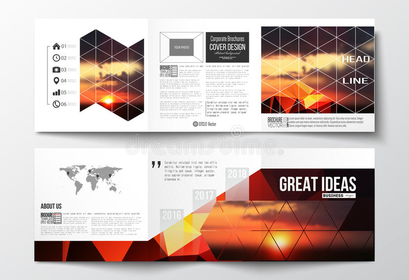 Set of tri-fold brochures, square design templates. Colorful polygonal backdrop, blurred natural background, amazing royalty free illustration