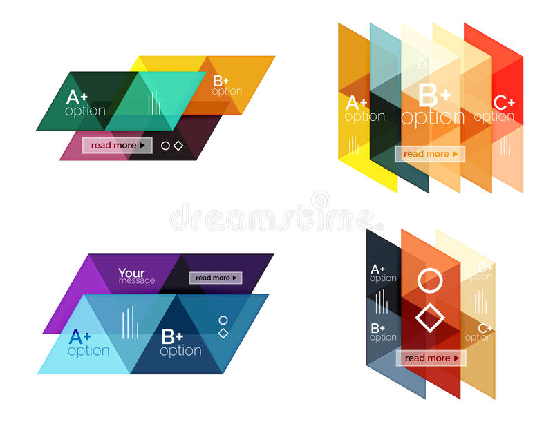 Set of triangle geometric infographic. For workflow layout, diagram, number options or web design royalty free illustration