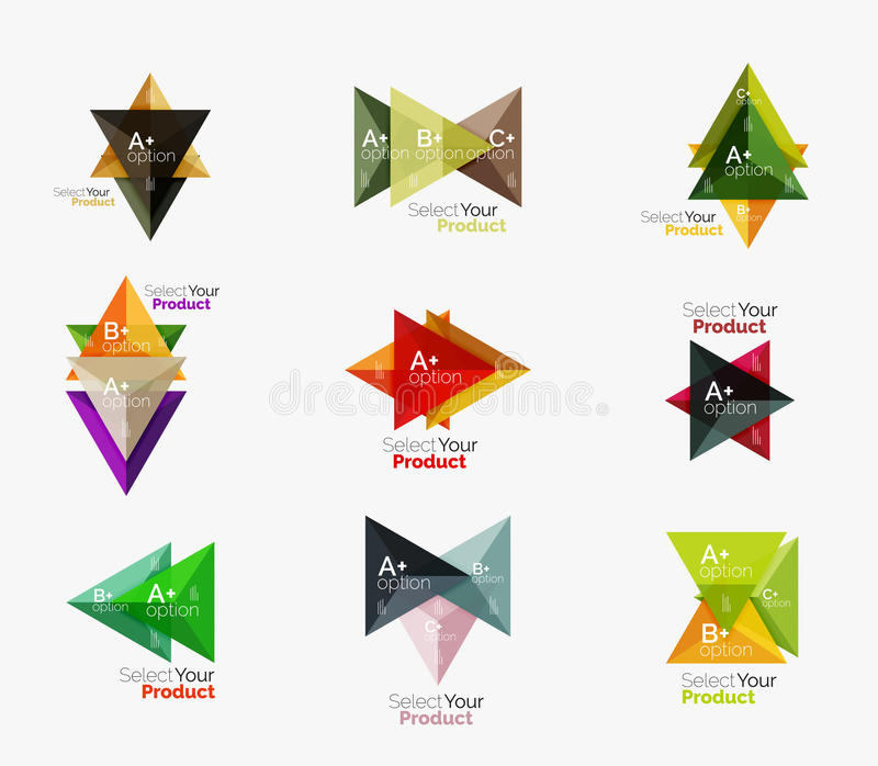 Set of triangle infographic layouts with text and options vector illustration