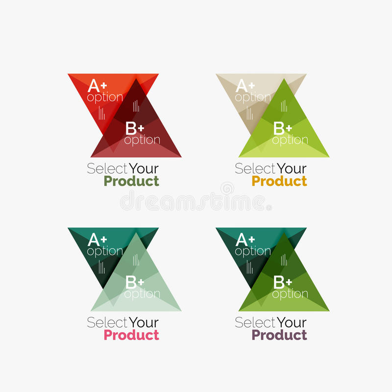 Set of triangle option infographic layouts royalty free illustration