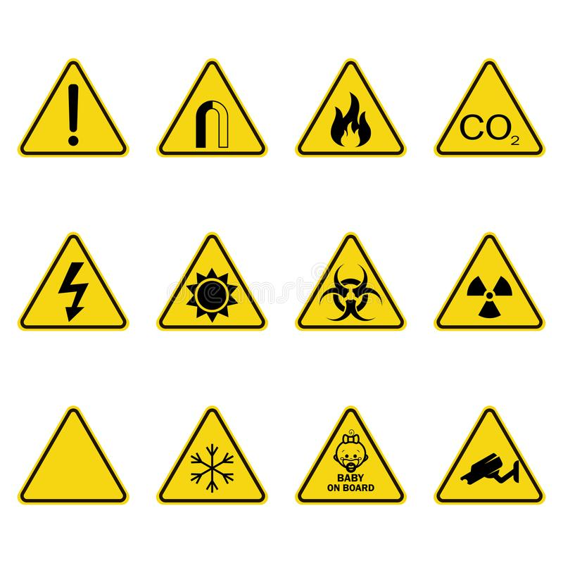 Set of triangle warning signs. Warning roadsign icon. Danger-warning-attention sign. Yellow background stock illustration