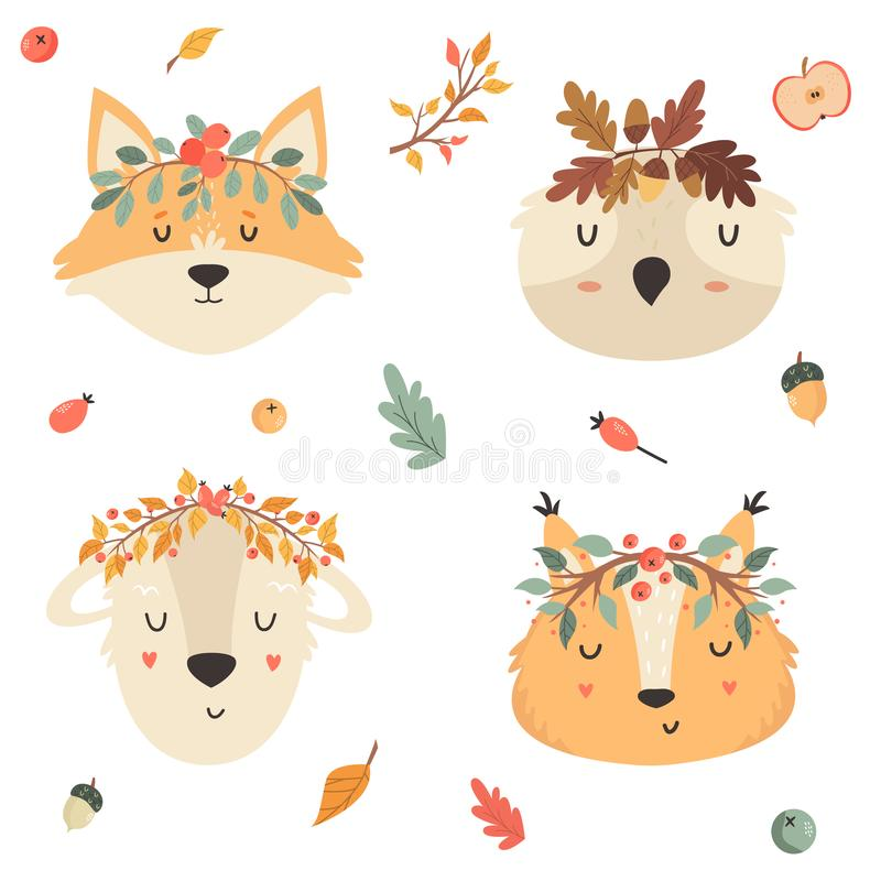 Set of tribal animals in crowns. Squirrel, fox owl royalty free illustration