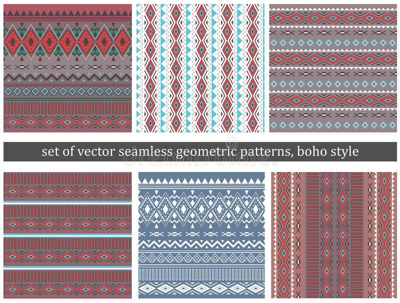 Set of Tribal Boho Seamless Patterns . stock illustration