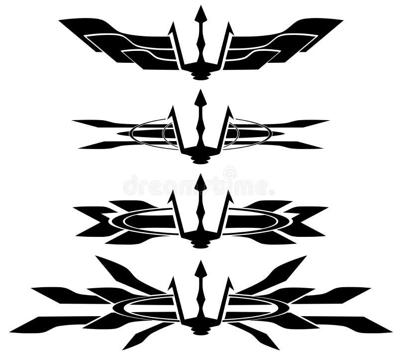 Poseidon Staff Tattoo: Set Of Trident Tattoo In Black Isolated Stock Vector