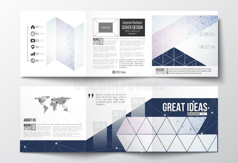 Set trifold broszurki, kwadratowi projektów szablony Poligonalny niski poli- tło z łączyć kropkuje i wykłada ilustracji