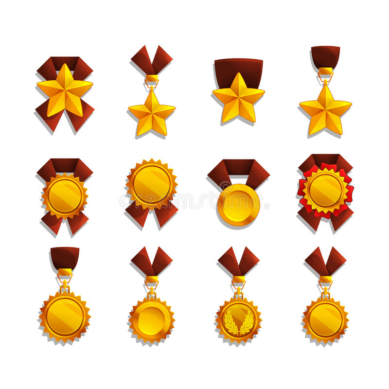 Set trofeum i medale royalty ilustracja