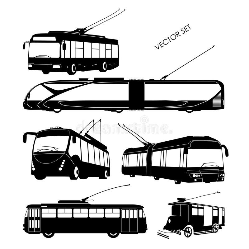 Set trolley bus silhouettes on a white background stock illustration