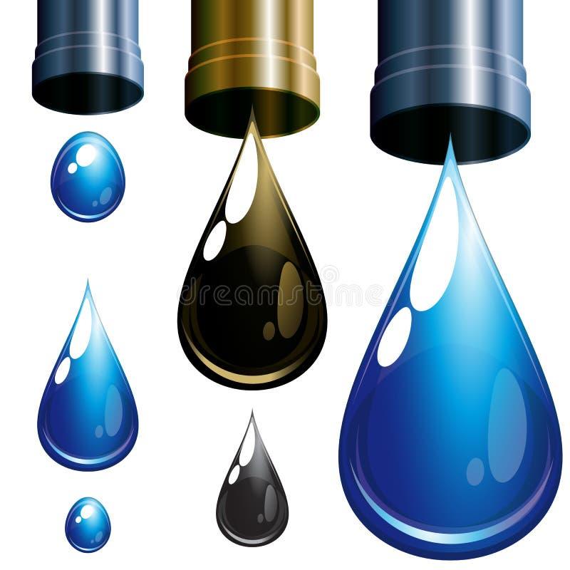 Set Tropfen. Wasser und Schmieröl. stock abbildung
