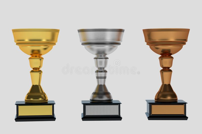 Set of trophies on white royalty free stock photo