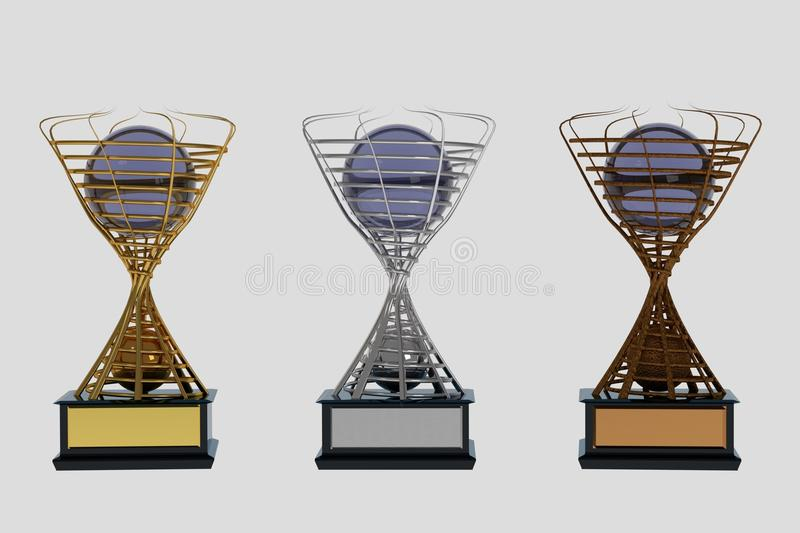 Set of trophies on white royalty free stock photography