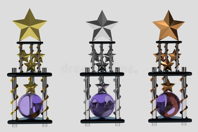 Set of trophies on white royalty free stock images