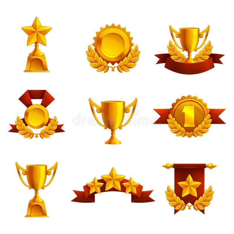 Set of trophy, medals and award. stock illustration